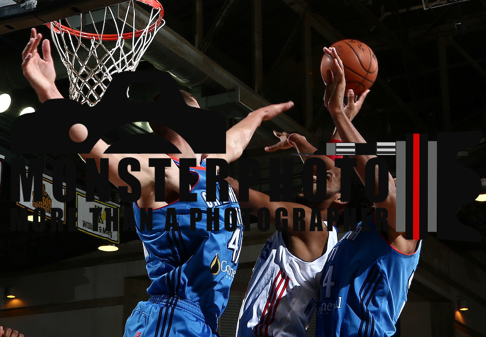 Delaware 87ers Forward JAMES WEBB III (3) drives towards the basket as Oklahoma City Blue Forward JOSH HUESTIS (34) defends in the first half of a NBA D-league regular season basketball game between the Delaware 87ers and the Oklahoma City Blue (Oklahoma City Thunder) Tuesday, Dec. 13, 2016, at The Bob Carpenter Sports Convocation Center in Newark, DEL