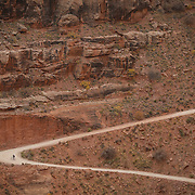 SHOT 10/17/16 11:27:27 AM - A mountain biker climbs the Shafer Trail section of the White Rim Trail. The White Rim is a mountain biking trip in Canyonlands National Park just outside of Moab, Utah. The White Rim Road is a 71.2-mile-long unpaved four-wheel drive road that traverses the top of the White Rim Sandstone formation below the Island in the Sky mesa of Canyonlands National Park in southern Utah in the United States. The road was constructed in the 1950s by the Atomic Energy Commission to provide access for individual prospectors intent on mining uranium deposits for use in nuclear weapons production during the Cold War. Four-wheel drive vehicles and mountain bikes are the most common modes of transport though horseback riding and hiking are also permitted.<br /> (Photo by Marc Piscotty / &copy; 2016)