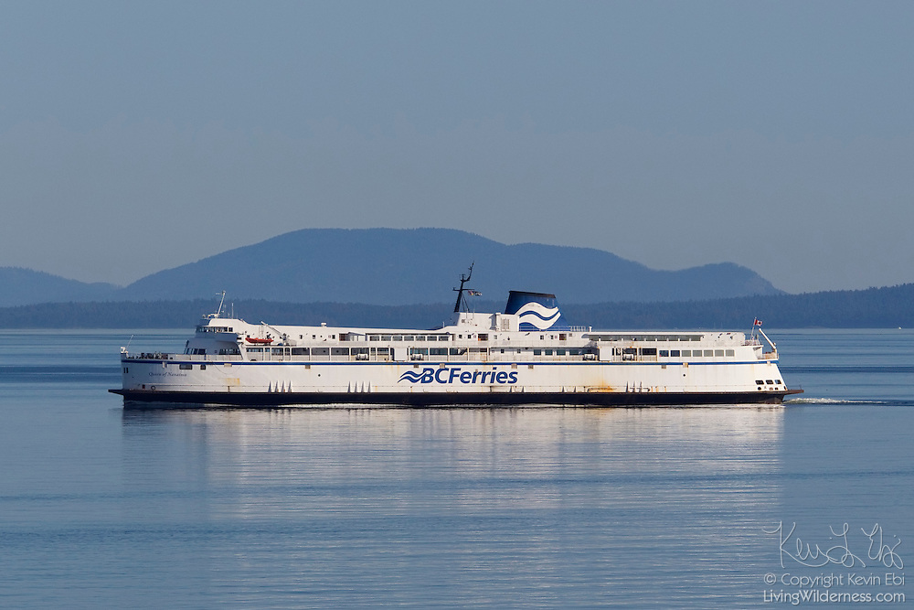 The BC Ferries vessel Queen of Nanaimo crosses the Strait of Georgia between mainland Canada and Vancouver Island. BC Ferries, the common name for British Columbia Ferry Services Inc., is the largest passenger ferry system in North America and the second-largest in the world. It is a Crown corporation, owned by the Canadian government.