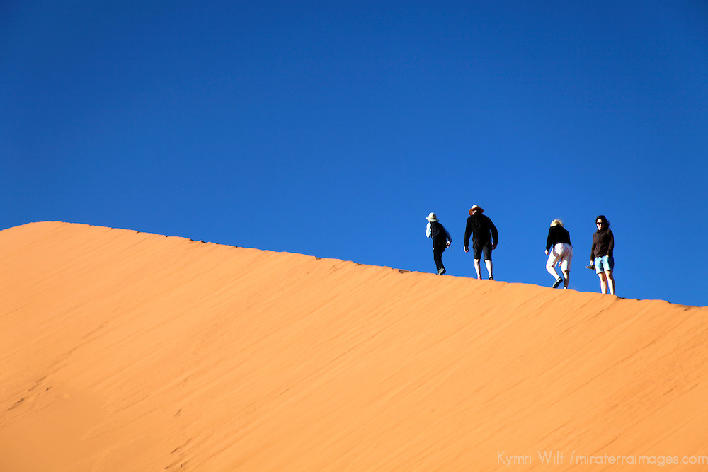 Africa, Namibia, Sossusvlei. Hikers on Dune at Sossusvlei.