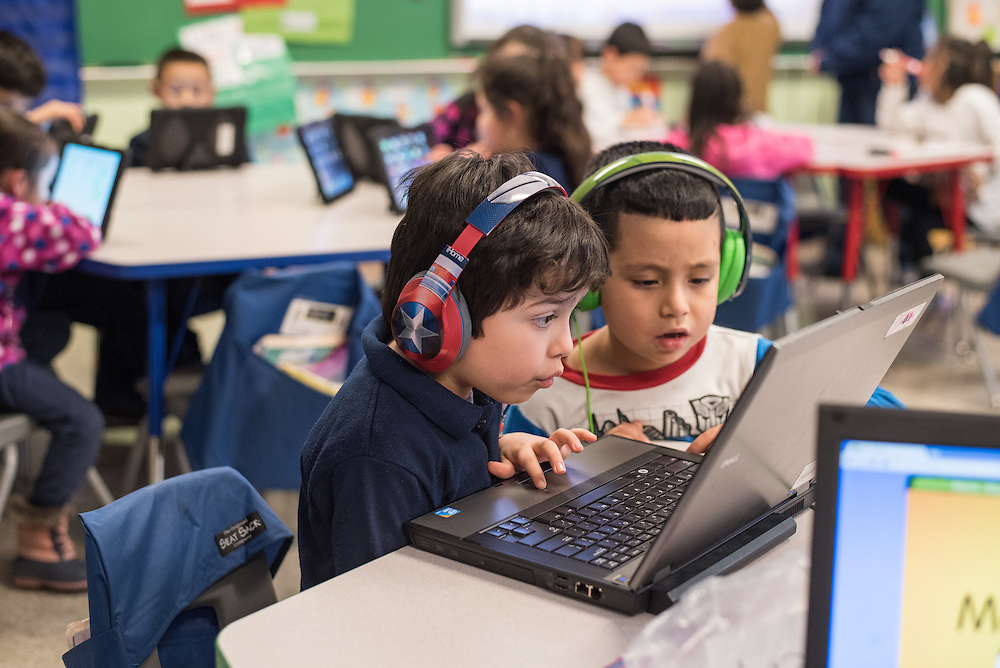 Chávez Elementary kindergartners use a mix of laptops and iPads in the classroom.