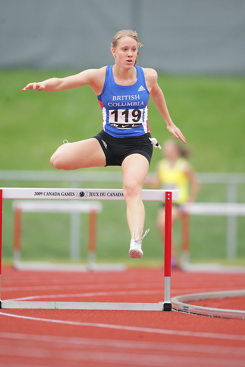 (Charlottetown, Prince Edward Island -- 20090718) Christine A. Lowe of BC Athletics competes in the 400m hurdles semifinals at the 2009 Canadian Junior Track & Field Championships at UPEI Alumni Canada Games Place on the campus of the University of Prince Edward Island, July 17-19, 2009.  Geoff Robins / Mundo Sport Images ..Mundo Sport Images has been contracted by Athletics Canada to provide images to the media.