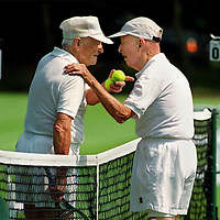 """fragm  """"Hey Young Fella!"""" -Sr. Tennis player Dan Bushnell, age 91 of Massachusetts(AT RIGHT), congratulates Albert Gaskill age 90 yrs 10 months(LEFT) of North Carolina Who Bushnell called """"Young Fella"""" after Gaskill beat him in the semi-finals at Brookline,MA."""