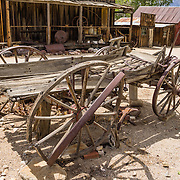 Antique wagon at the Eastern California Museum, 155 N. Grant Street, Independence, California, 93526, USA. The Museum was founded in 1928 and has been operated by the County of Inyo since 1968. The mission of the Museum is to collect, preserve, and interpret objects, photos and information related to the cultural and natural history of Inyo County and the Eastern Sierra, from Death Valley to Mono Lake.