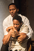 01/11/2012. London, UK. Arcola Studio 2, Dalston, presents: 'but i cd only whisper'.  The world premiere of a fierce and lyrical new work from Chicago. Directed by Nadia Latif and Written by Kristiana Colón. Picture shows: Adetomiwa Edun & Cornell S John.