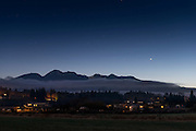 Venus rising over the Olympic Range, on a rare clear winter dusk. Agnew WA