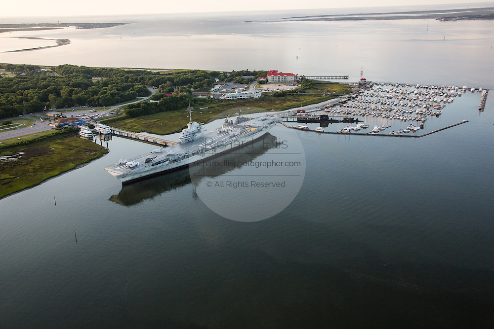 Aerial view of the historic aircraft carrier USS Yorktown and Patriots Point in Charleston, SC