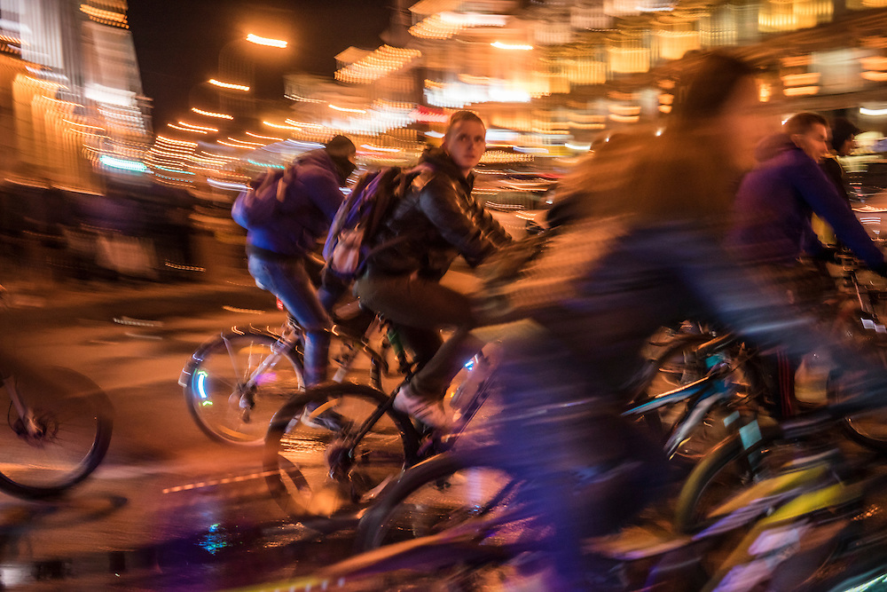 A group of riders during a cycling festival on Thursday, September 22, 2016 in Minsk, Belarus.