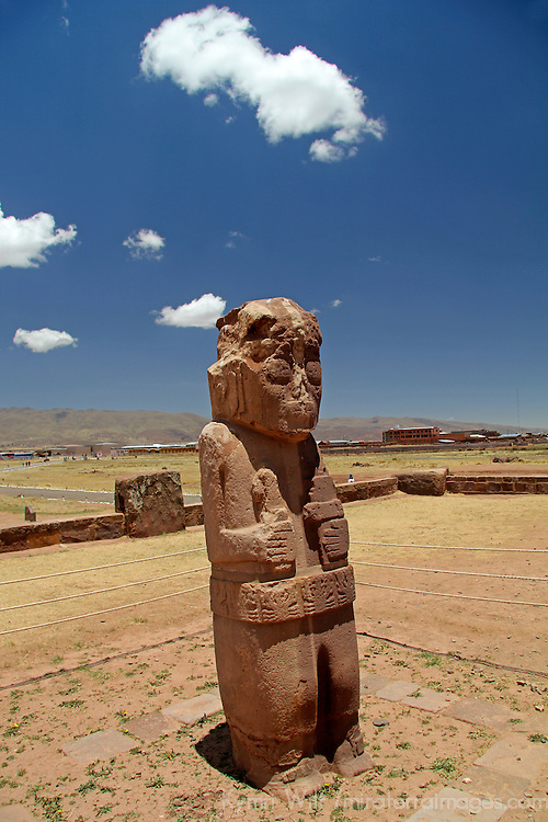 South America, Bolivia, Tiwanaku. Fraile Monolith of Pre-Columbian archaeological site of Tiwanaku, a UNESCO World Heritage Site.