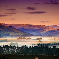 Job120101_NewZealand_DSC5610.NEF.Cheviot_Final.Landscape..Sunrise and Morning Fog, Mist in the Valley, Cheviot..South Island, New Zealand..January 2012.