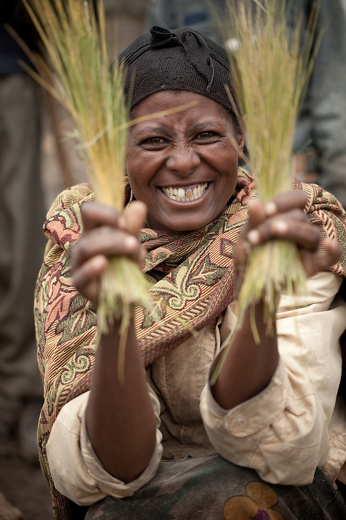 Smiling woman selling Guassa grass on Market day in Mehal Meda on the Guassa Plateau in the Ethiopian Highlands