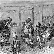 """Yer bin to dis Cadermy eighteen months an' dunno how to spell pork?""  The Blackville Schoolmaster. Harper's Weekly, 1879."