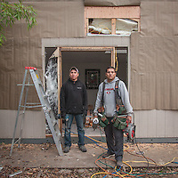 """Eduardo and Carlos work on a small construction site in Calistoga    """"I just quite my construction job...after 17 years, I have decided to go out on my own...I should have done this a long time ago.""""  -Edwardo"""