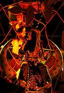 22/08/12 - AURILLAC - CANTAL - FRANCE - 27e Festival de Theatre de rue d Aurillac. ECLAT 2012. Les Chevaux de Minorque par la troupe TUTATIS - Photo Jerome CHABANNE