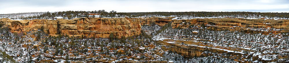 Mesa Verde National Park winter panorama. Composite of 10 images taken with a Nikon D3 camera and 80-400 mm VR lens (ISO 200, 80 mm, f/4.5, 1/200 sec). Raw images processed with Capture One Pro and the composite generated using AutoPano Giga Pro.