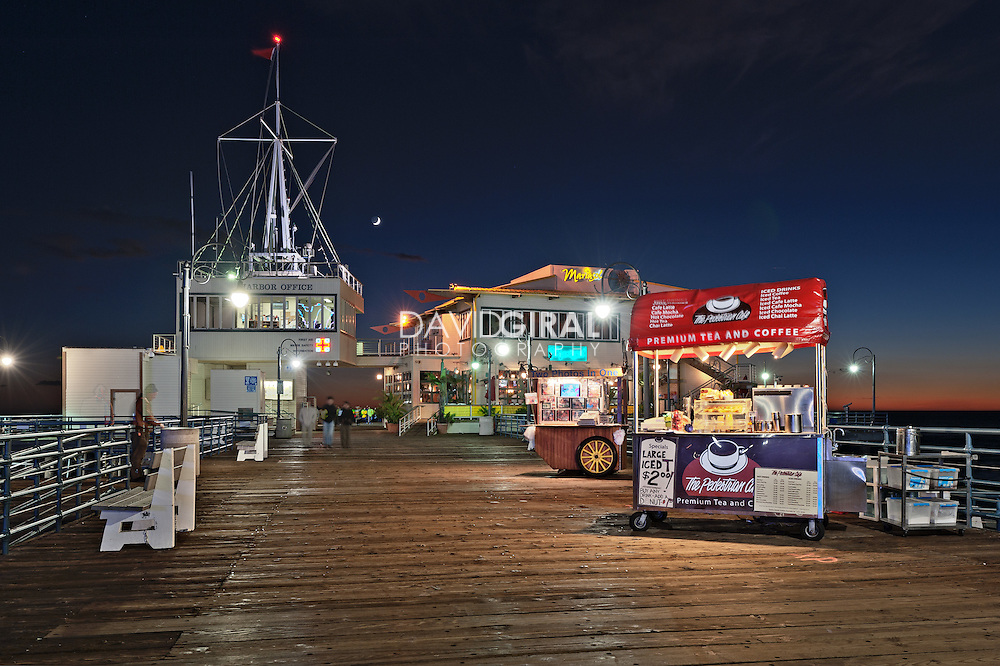Harbour Offices and Mariasol Restaurant at the Blue Hour | An Evening at Santa Monica Pier, Los Angeles, California, USA