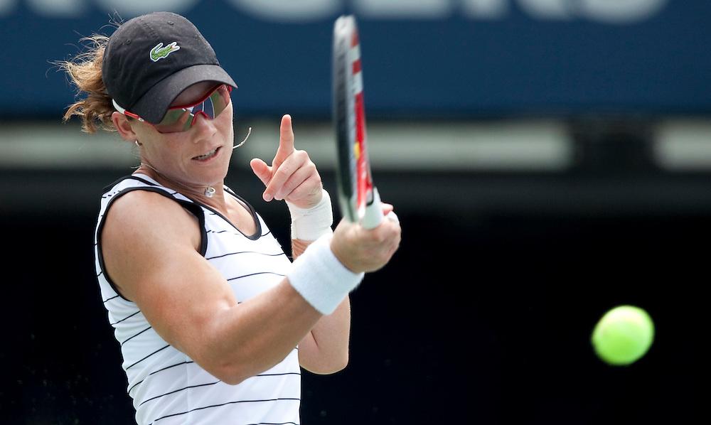 Samantha Strosur of Australia returns a shot during her semi-final match against  Agnieszka Radwanska of Poland at the Rogers Cup WTA event in Toronto, Ontario, August 13, 2011. Strosur defeated Radwanska in 3 sets.<br /> AFP PHOTO/Geoff Robins