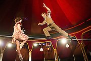 09/05/2012. London, UK.Cantina is an electrifying cocktail of vaudeville and circus, as part of Priceless London Wonderground. Presented by the London Southbank Centre from 8th May - 30th September 2012. Picture shows Chelsea Mcguffin & Daniel Catlow.