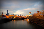 The Chicago River flows under Cermak Rd on the south side of the city, and the bridge provides a unique perspective on the famous skyline of the Windy City.