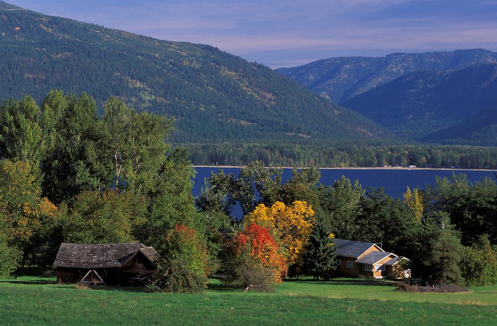 Fall colors at Sushwap Lake, near Sorrento, British Columbia, Canada