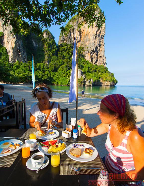Tourists on breakfast. Railay Bay Resort & Spa hotel. Railay West Beach. Railay. Krabi province, Thailand.