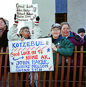 ANCHORAGE - MARCH 6 2010. John Baker supporters at the start of the Iditarod in Anchorage, Alaska.