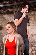 © Licensed to London News Pictures. London, UK. Southwark Playhouse presents the world premier of Philip Ridley's Shivered, directed by Russell Bolam. Picture shows Olivia Poulet as Lyn and Andrew Hawley as Gordy. Photo credit : Tony Nandi