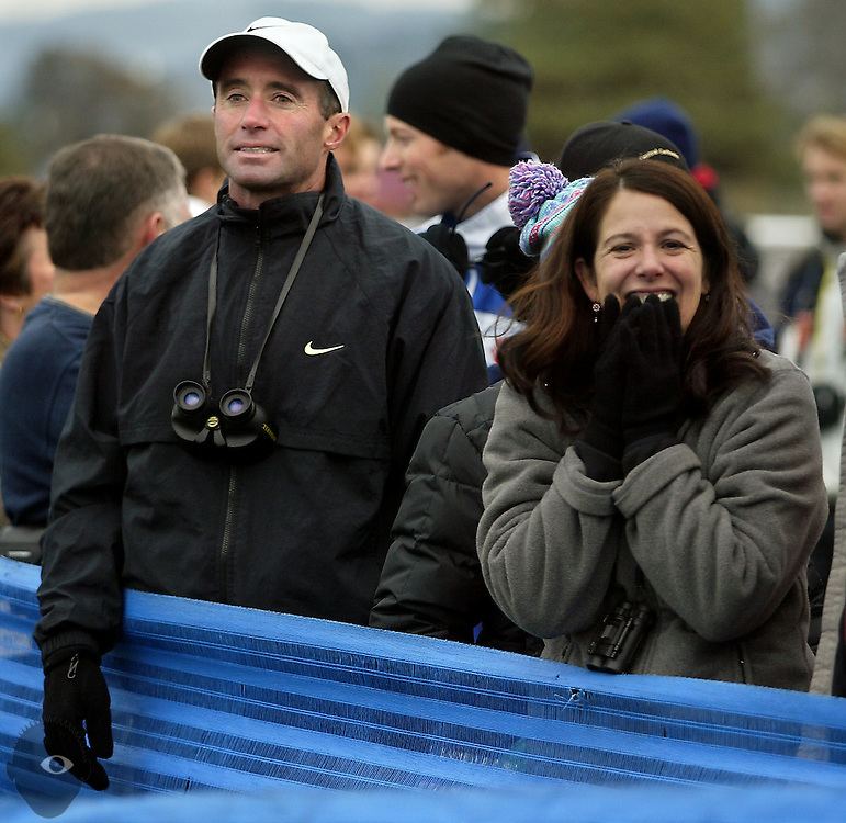 Central Catholic head coach Alberto Salazar and Galen Rupp's mom enjoy their team's win. The OSAA Cross Country State Championships were held at Lane Community College in Eugene.....