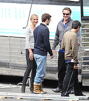 "April 7th, 2010. Los Angeles, California. Non Exclusive. Cameron Diaz and Justin Timberlake film a scene together for ""Bad Teacher"". In the scene Cameron Diaz, Justin Timberlake and Jason Segal are all  teachers bringing their classes on a field trip. In between takes Cameron and Justin were seen laughing and joking around. These are the first candid photos of Cameron and Justin together on set. Filming took place at the Santa Fe Dam Recreational Area outside of Los Angeles. Photo by Eric Ford/ On Location News. 818-613-3955 info@onlocationnews.com"