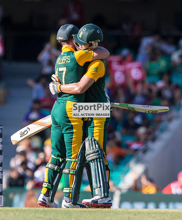ICC Cricket World Cup 2015 Tournament Match, South Africa v West Indies, Sydney Cricket Ground; 27th February 2015<br /> South Africa&rsquo;s AB De Villiers and South Africa&rsquo;s Rilee Rossouw embrace after South Africa&rsquo;s Rilee Rossouw scored his 50