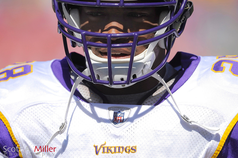 Nov. 16, 2008; Tampa, FL, USA; Minnesota Vikings running back Adrian Peterson (28) prior to the  Vikings game against the Tampa Bay Buccaneers at Raymond James Stadium. The Bucs won 19-13. ...©2008 Scott A. Miller