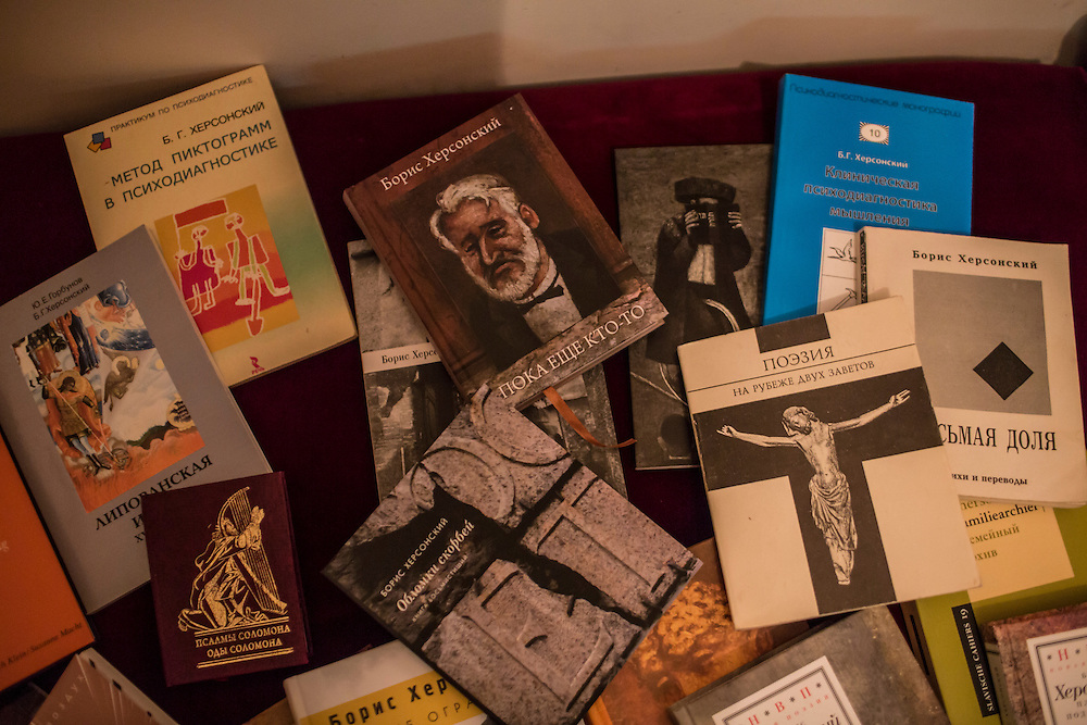 ODESSA, UKRAINE - MARCH 26, 2015: Copies of various books by poet Boris Khersonsky in his home office in Odessa, Ukraine. CREDIT: Brendan Hoffman for The New York Times
