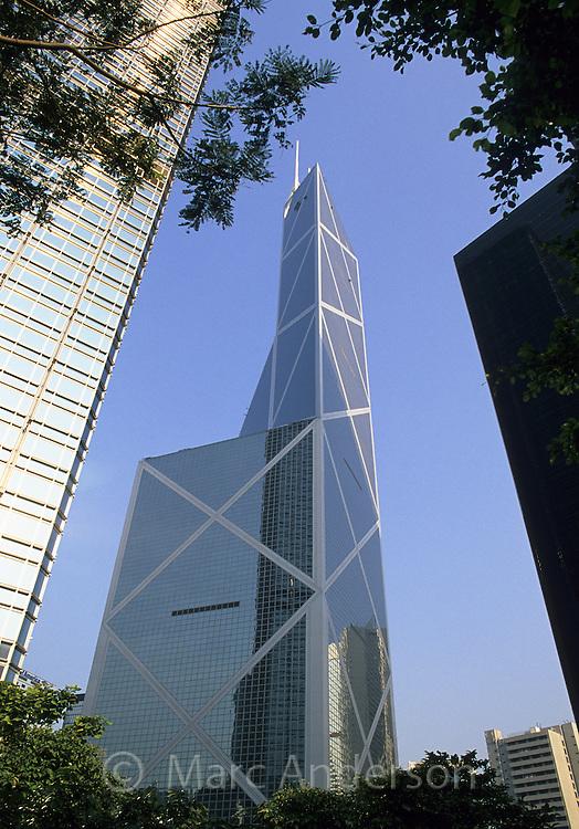 The Bank of China skyscraper in central Hong kong, China.
