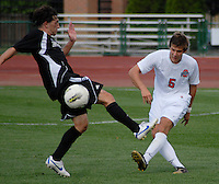 Ohio State defender Sage Gardner (5) clears the ball as OSU takes on Binghamton in the first half of an NCAA men's college soccer game in Columbus, Ohio on Sunday, Sept. 11, 2011, at Jesse Owens Memorial Stadium.