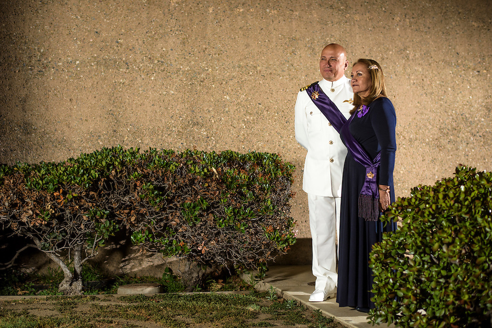 Anaheim , California - April 11, 2015:  His Territorial Highness Prince Arthur Louis Pagan Nieves and Her Territorial Highness Lady Edith Ortiz, ARNP Military Medical Officer of The House of Homestead pose for a portrait during the MicroCon 2015 Cotillion at the Unitarian Universalist Church in Anaheim, CA April 11, 2015. &quot;Territorial Prince&quot; is an honorary title originally given to Prince Arthur&rsquo;s 6th Generation Grandfather, Lord Arthur Henry Nieves, who owned the original House of Homestead -- 16 acres of land in La Essana, Principality of Andorra. Andorra is a European microstate, landlocked between Spain and France; it's a monarchy run by two co-princes. Territorial Prince Arthur makes it clear that he is not a blue blood. His title has been passed down through his family for generations. He claims his home in Miami as the Diplomatic Residence of The House of Homestead. <br /> <br /> CREDIT: Matt Roth