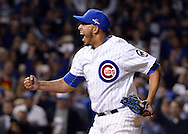 CHICAGO, IL - OCTOBER 12:  Hector Rondon #56 of the Chicago Cubs reacts after recording the final out during Game 3 of the NLDS against the St. Louis Cardinals at Wrigley Field on Monday, October 12, 2015 in Chicago , Illinois. (Photo by Ron Vesely/MLB Photo)