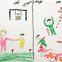 """""""A before and after scene. Before, there is a child swinging, flowers, balloons. After, the streets are filled with dead people, Assad's army killing everyone."""" Drawing by Syrian girl, age 13. (Topic for this session: dealing with loss.)"""