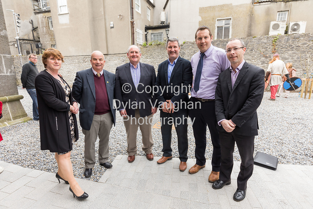 Repro Free no charge for use<br /> <br /> 4-4-17<br /> <br /> Official opening of Kilkenny&rsquo;s Medieval Mile Museum<br />  <br /> Today, Tuesday April 4th  at 12.15pm, Patrick O Donovan, Minister for Tourism and Sport officially opened Kilkenny&rsquo;s Medieval Mile Museum by cutting a ribbon at the door of the former St Mary&rsquo;s Church (St Mary&rsquo;s Lane, Kilkenny). The Medieval Mile Museum, commissioned by Kilkenny County Council, represents an investment of &euro;6.5 million, with significant assistance from Failte Ireland&rsquo;s Capital Programme and additional funding from Kilkenny Civic Trust. <br /> <br /> Pictured at the opening is Colette Byrne Chief Executive Kilkenny County Council, Cllr. Maurice Shortall, Ned Quinn, Chairman Kilkenny GAA, Cllr. Ger Frisby, Cllr. Peter Cleere and Cllr. Michael Doyle.<br /> <br /> Picture Dylan Vaughan.