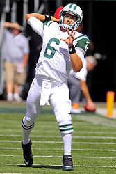 Sept 9, 2012; East Rutherford, NJ, USA; New York Jets quarterback Mark Sanchez (6) throws a pass during the pre-game warmup for their game against the Buffalo Bills at MetLIfe Stadium.