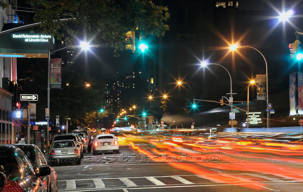 Night lights on Manhattan street
