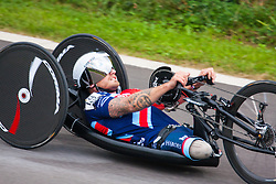 Queen Elizabeth Olympic Park, London. September 13th 2014. Great Britain's Joseph Townsend powers his way to a silver medal in the IHB2 category as wounded servicemen and women from 13 different countries compete for sporting glory during the cycling competition at the Invictus Games.