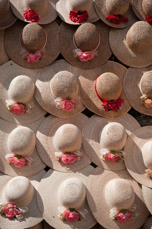 Straw hats for sale in plaza at San Juan de los Lagos, Jalisco, Mexico.
