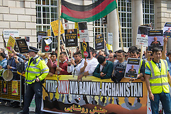 St James, London, May 12th 2016. Tamil, Afghan, Nigerian and Biafran protesters demonstrate outside the anti-corruption conference taking place at Lancaster House. PICTURED: