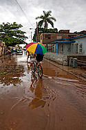 Bicycling after a storm in Holguin, Cuba.
