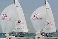 Team Tunnicliffe (USA) leading Team Lehtinen (FIN) at the Miami Olympic Classes Regatta
