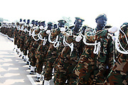 South Sudanese soldiers run through a rehearsal of independence ceremonies at the Garang Masoleum on July 5, just four days before the country officially is born.