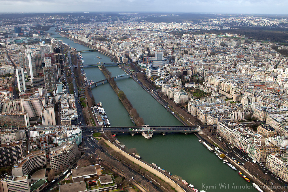 Europe, France Paris. Paris Seine River and kkyline, view from the Eiffel Tower.
