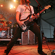 Troy Sanders of Mastodon performs during the third day of the 2008 Bonnaroo Music & Arts Festival on June 14, 2008 in Manchester, Tennessee. The four-day music festival features a variety of musical acts, arts and comedians..Photo by Bryan Rinnert