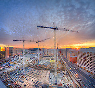 Construction cranes fill the sky over the CityCenterDC site in January of 2012.<br />