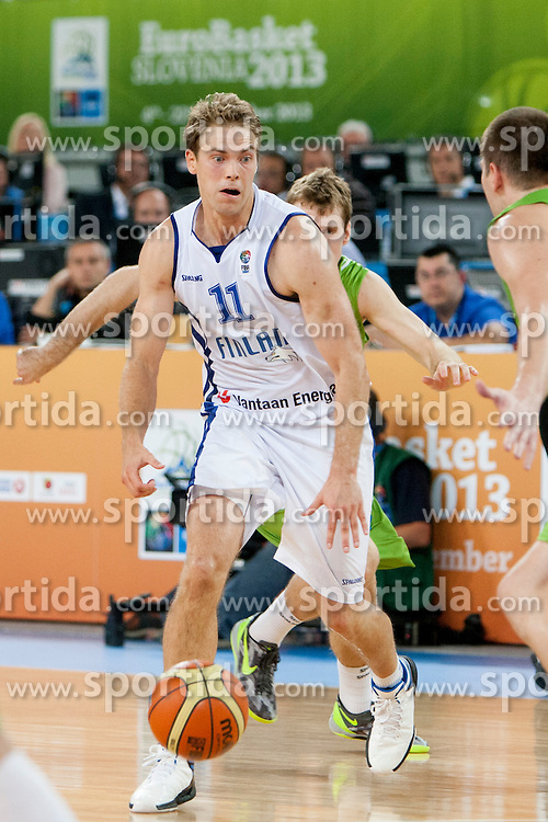 Petteri Koponen #11 of Finland during basketball match between National teams of Finland and Slovenia in 2nd Round at Day 13 of Eurobasket 2013 on September 14, 2013 in SRC Stozice, Ljubljana, Slovenia. (Photo By Urban Urbanc / Sportida)